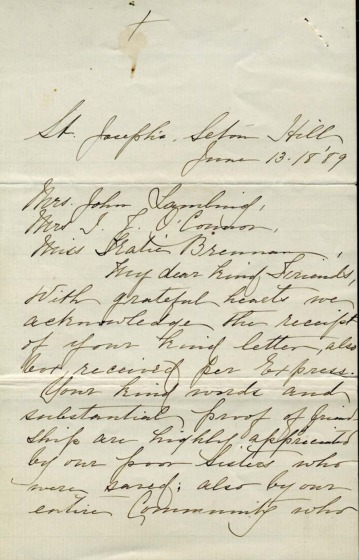 Letter, Mother Aloysia to Benefactors at time of Johnstown Flood, 1889.pdf