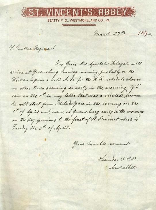 Letter, Archabbot Leander Schnerr to Mother Ann Regina 1894.pdf